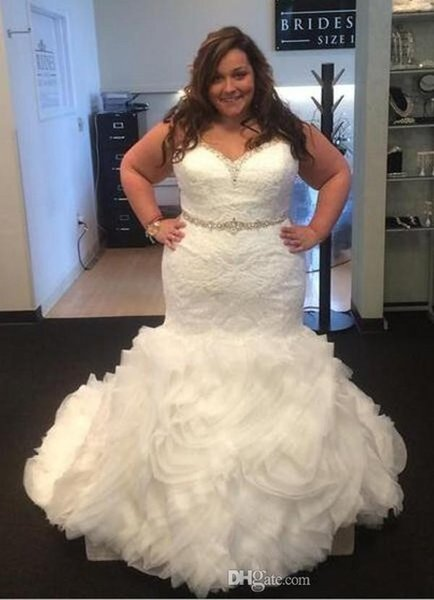 2019 Nova Barato Sereia Vestidos de Casamento Querida Lace Apliques de Cristal Frisado Varredura Trem Ruffles Plus Size Formais Vestidos de Noiva