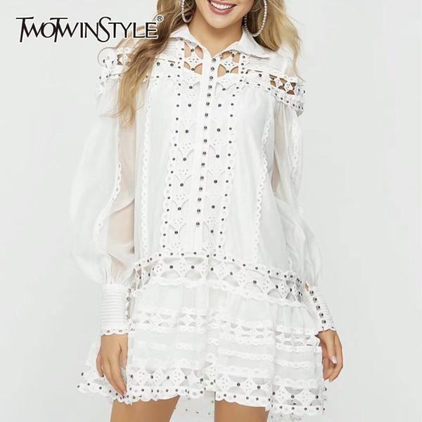 TWOTWINSTYLE Abalorios patchwork vestido de las mujeres soporte de la linterna de la manga ahueca hacia fuera floja mini vestidos de moda femenina 2019 primavera nueva