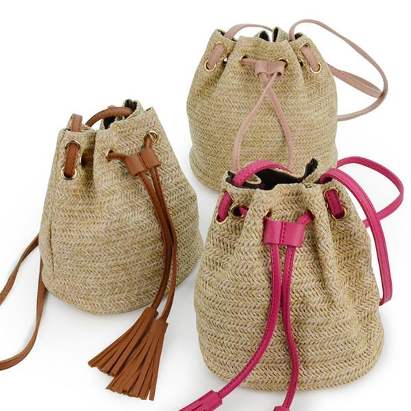 Moda borla de paja bolsa de playa al aire libre Messenger Lady Fresh bolso Crossbody tejido bolsa de viaje doble borla Bucket TTA568