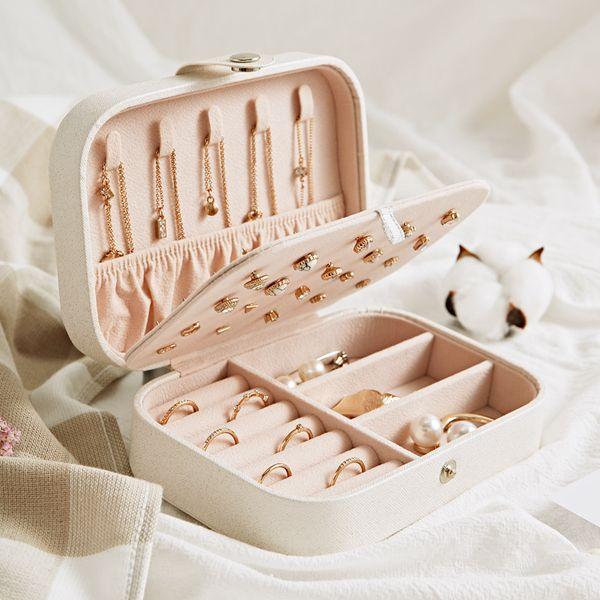Protable PU Mücevher Saklama Kutuları Mini Dikdörtgen Takı Koleksiyonu Organizatör Küpe Kolye Yüzük Vaka Seyahat Aksesuarları Tutucu