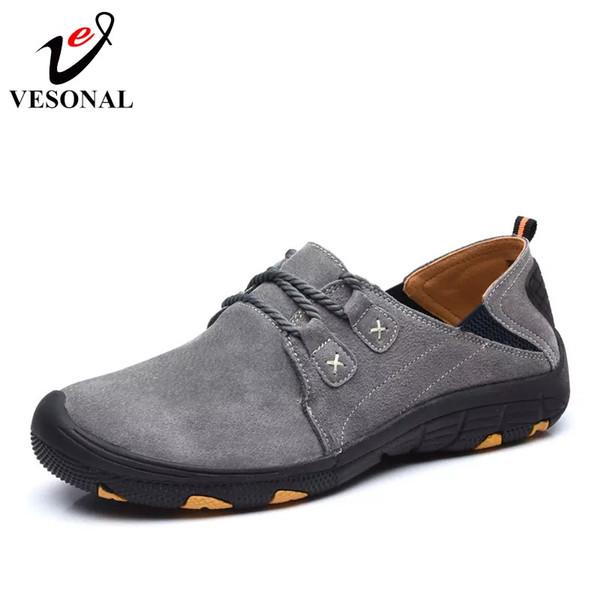 c1d53c42b13 VESONAL de Cuero Genuino Otoño Invierno Cálido de Piel Zapatos Masculinos Para  Hombres Zapatillas de deporte