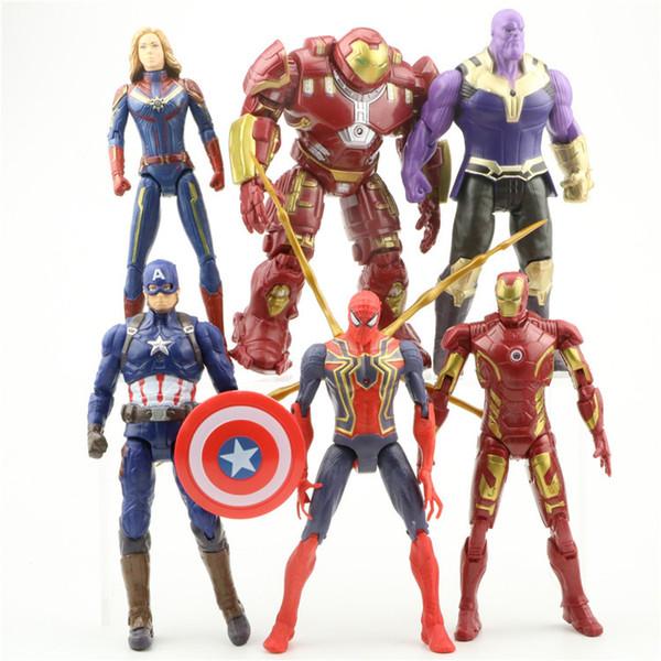 Vengadores 4 Capitán Marvel Figura de acción 6 unids / 1ot 17 cm Muñecas niños de dibujos animados Superhéroe Iron Man Thanos spiderman Figura AAA1915