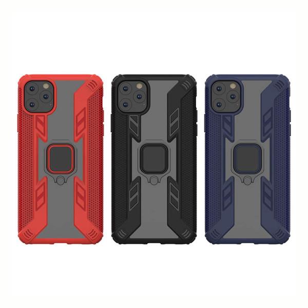 Novo híbrido Caso robusto Armadura de telefone para o iPhone de 11 Pro Max Kickstand com metal anel de dedo de choque com cobertura prova para iPhone 11 8 7 Plus XR X Caso