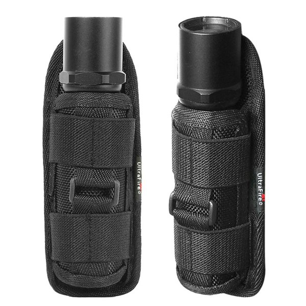 2Pcs Flashlight Bag With Clip 360 Degrees Outdoor Hunting Tactical Flashlight Pouch Nylon Molle Waist Bag Belt Holster Combat #85820
