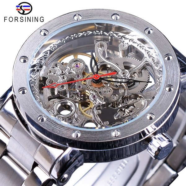 Forsining Silver Skeleton Wristwatches Black Red Pointer Silver Stainless Steel Belt Automatic Watches for Men Transparent Watch
