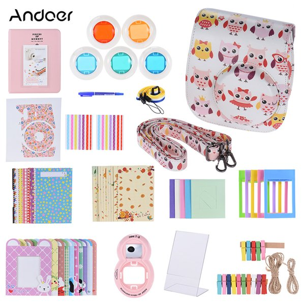 Andoer 14 in 1 Accessories Kit for Instax Mini 9/8//8s w/ Camera Case/Strap/Sticker/Selfie Lens/Filter/Album//Pen etc