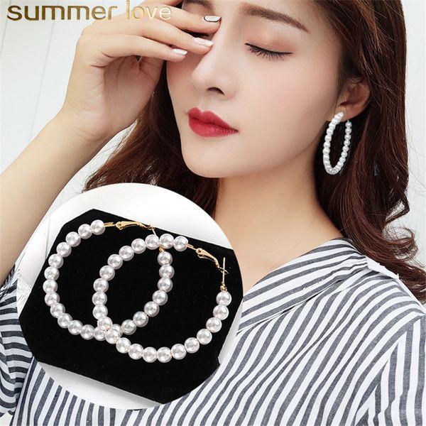 New Pearl Hoop Orecchini per le donne Ragazze eleganti esagera Oversize Pearl Circle Ear Rings Orecchini Sweet South Korea Design Jewelry