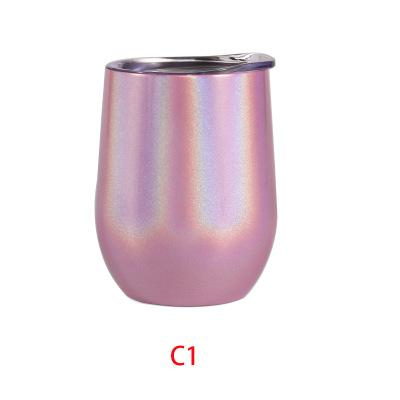 top popular 12oz Rainbow Wine Tumbler Egg Shaped Stemless Tumbler Double Wall Stainless Steel Tumbler 12oz coffee mug with lid 2021
