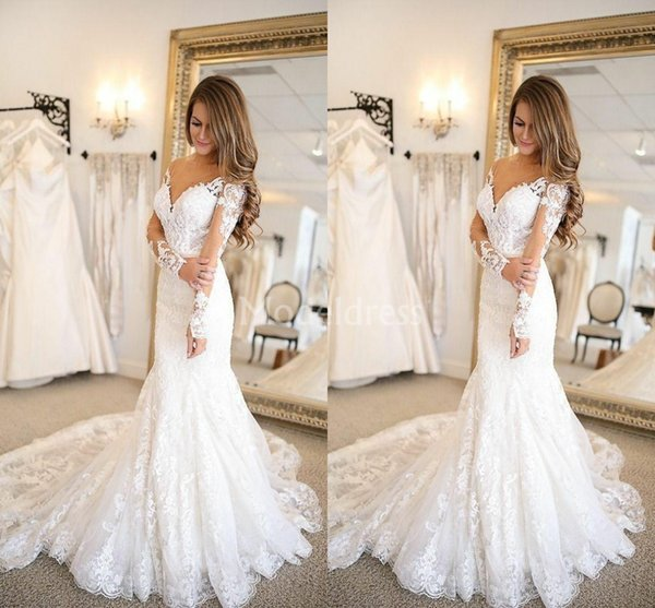 2019 Stylish Mermaid Lace Wedding Dresses Sheer Neck Illusion Long Sleeves Sweep Train Chapel Bridal Gown Appliques Charming robe de mariée