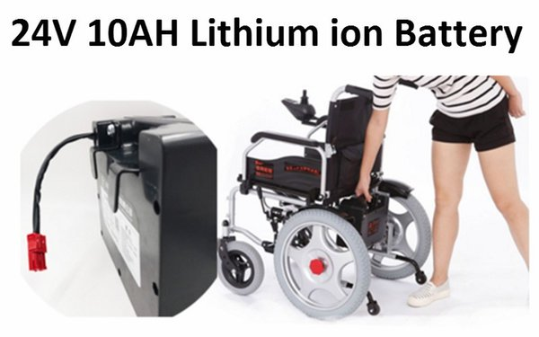 1 adet Lityum pil 24 V 10AH Portble için 240 W 24 V Li iyon Elektrikli tekerlekli sandalye Seyahat Lite Katlanır Güç Sandalye Mobility Scooter
