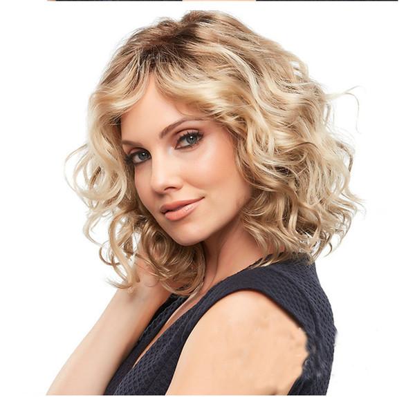 Nouvelles perruques de femmes européennes et américaines avec des boucles courtes de fleur de poirier et une partie centrale de perruques blondes à la mode