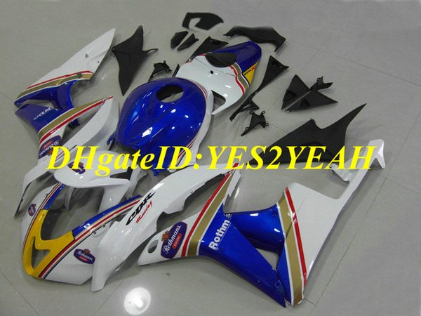 Kit de carenado de motocicleta de alta calidad para Honda CBR600RR 07 08 CBR 600RR F5 2007 2008 CBR600 ABS Conjunto de carenados blanco azul + Regalos HX44