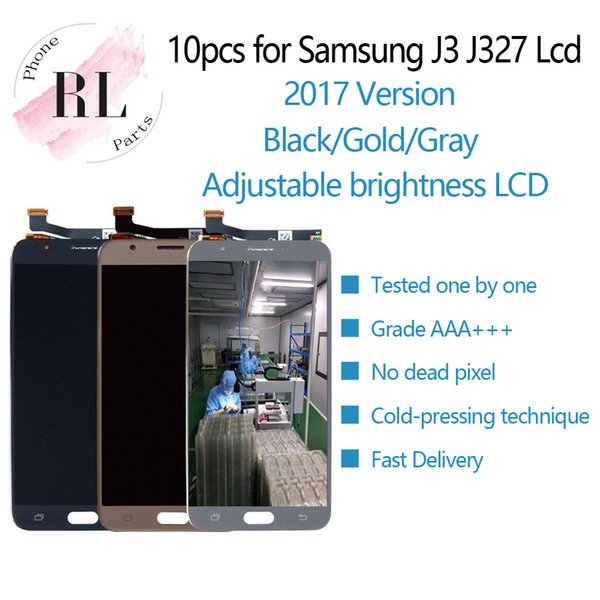 10PCS Adjustable brightness LCD For Samsung Galaxy J3 Prime 2017 J327 LCD display touch screen digitizer assembly parts J3 lcd