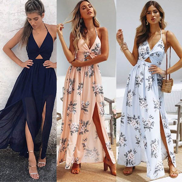 Summer Womens Dress Boho Maxi Long Evening Party Beach Bandage Abiti Vestidos Woman Sundress Floral Dress abiti firmati
