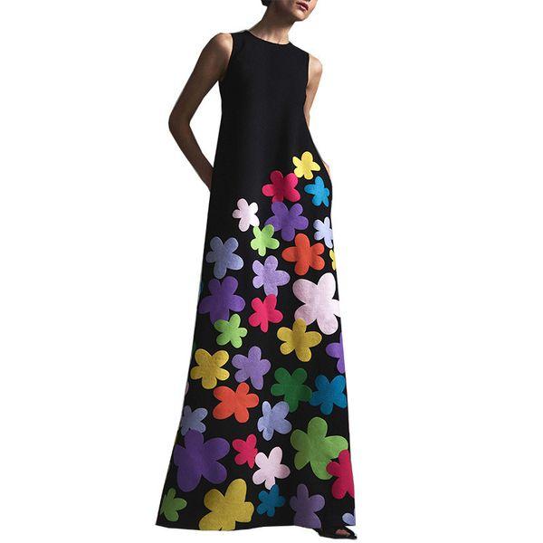 Women Long Floral Print Sundress Elegant O Neck Maxi Dress Summer Sleeveless Casual Flowers Print Sundress Beach Dress Vestidos J190601