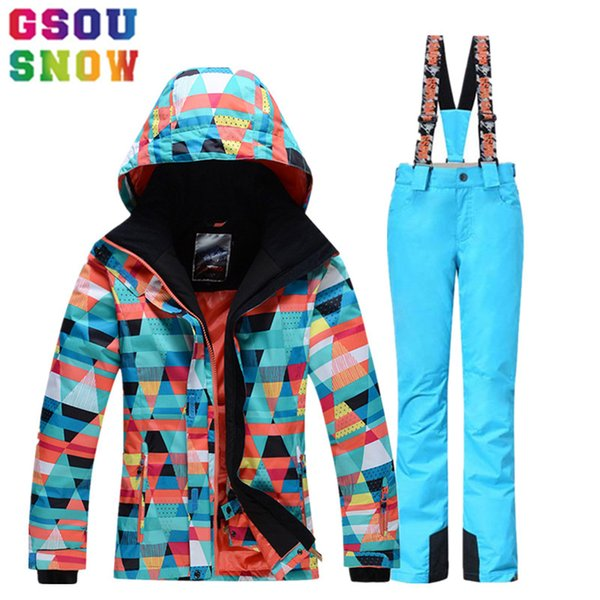 Gsou Snow Brand Women's Outdoor Ski Suit Winter Ski Jacket+ski Pant Waterproof Mountain Skiing Suit Snowboard Sets Sport Clothes