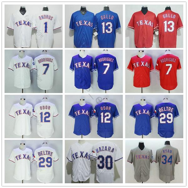 Texas # 1 Elvis Andrus 12 Rougned Olor 13 Joey Gallo 30 Nomar Mazara Rangers 29 Adrian Beltre 7 Ivan Rodriguez 34 Nolan Ryan Baseball Jerseys