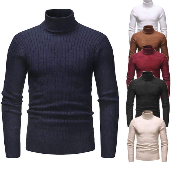Winter Men'S Sweater Men's Turtleneck Solid Color Casual Sweater Men's Slim Fit Brand Knitted Pullovers