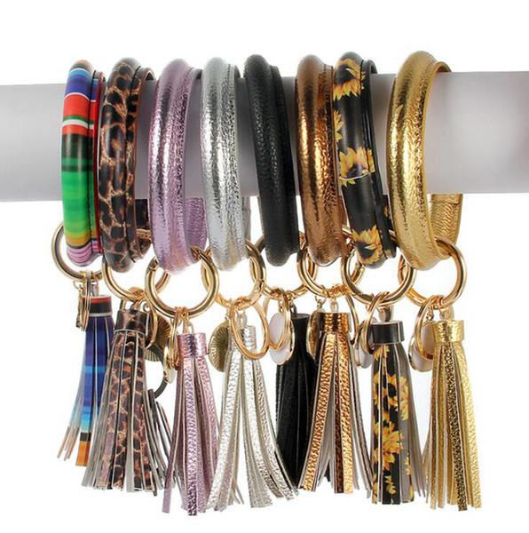 Sunflower Quaste Armband Keychain 9 Farben PU-Leder-Ring-Schlüsselanhänger O-Armband Armband-Schlüsselring-Partei-Bevorzugung OOA7227-1