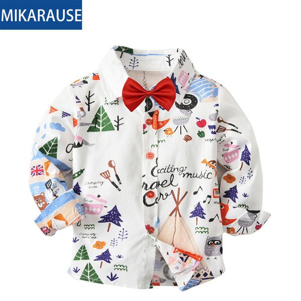 top popular Fashion kids boys shirts cotton print baby boy shirt long sleeve flower white blouses oxford toddler girls blouse casual shirt 2021