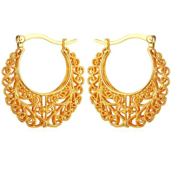Newest Trendy Hoop 18K Real Gold Plated Copper Vintage Hoop Earrings For Women Fashion Jewelry Basketball Wives Earrings E360