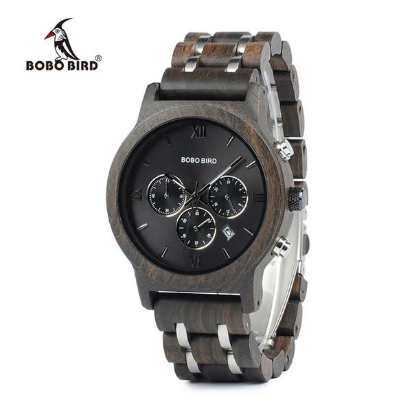 Chronograph Bobo Bird Men Watch Relogio Masculino Calendar Quartz Watches Wood Luxury Timepieces In Wooden Gift Box C-p19 J 190505