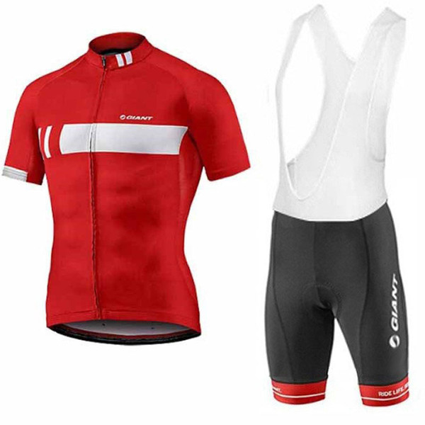 GIANT Pro Team Summer Cycling Jersey Mens short sleeve set Racing Bicycle Clothing Suit bib shorts Breathable MTB Bike Clothes 9D Gel pad