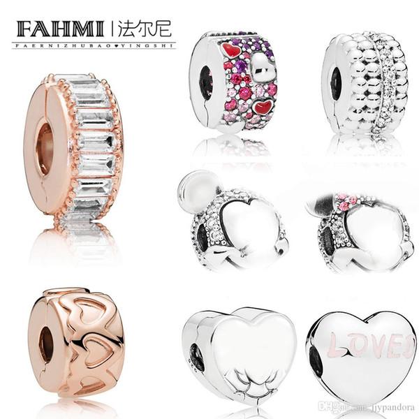 FAHMI 100% 925 prata esterlina ROSA FILEIRA DE CORAÇÕES clipes Clip de formação de gelo amado coração clipe assimétrica corações de amor frisado clipe de brilho