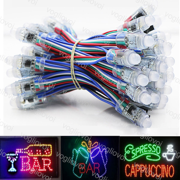top popular LED Modules Sign in WS2811 IC Led Pixel Module 12mm Waterproof Changeable Point Light DC5V RGB String Christmas Addressable Light DHL 2019