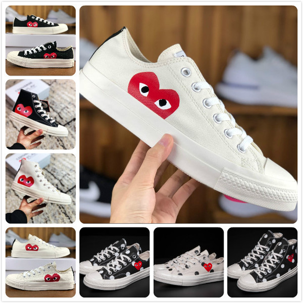 2019 New Play All Stars chaussures CDG Toile Jointly Grand Avec Des Yeux Coeurs Marque Beige Noir concepteur running course Skateboard Sneakers 35-44
