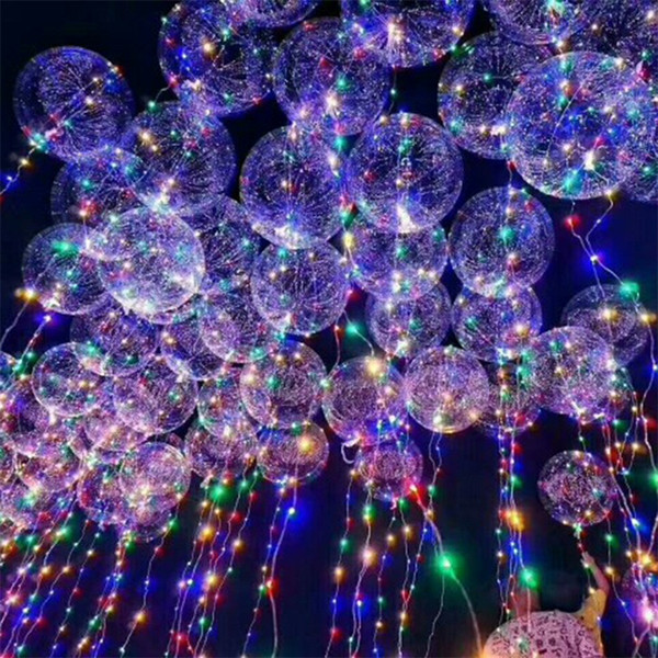 top popular 18 inch Handle Led Balloon Luminous Transparent Helium Bobo Ballons Wedding Birthday Party Decorations Kids LED Light Balloon DHL 2020