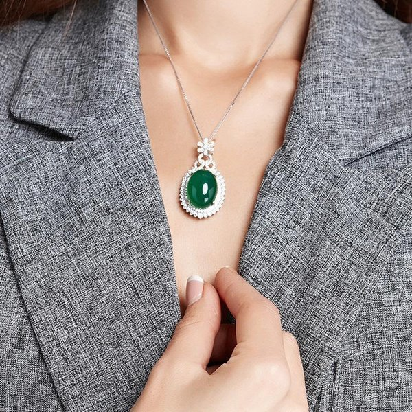S925 Silver Necklace Green Corundum Pendant Jade Turquoise Agate Collarbone Jewelry Multi Color Jade Emerald Ornaments Bizuteria