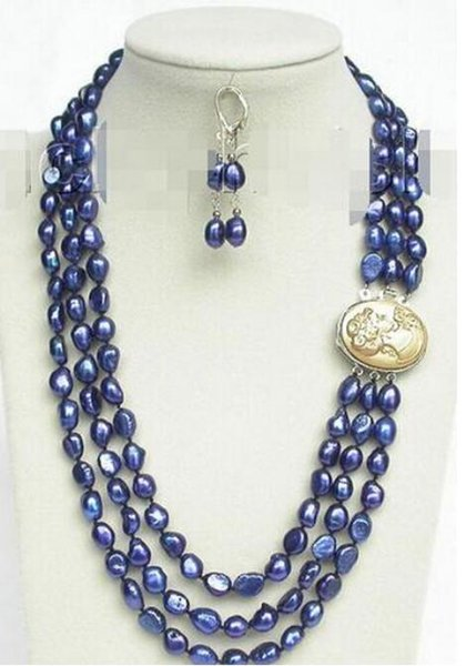 "FREE SHIPPIN + 20"" 3row 12mm baroque navy blue pearls necklace dangle Earrings set"