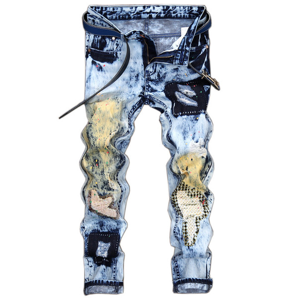 New Fashion Male Blue Denim Skinny Jeans Pants Printed Distressed Stone Washed Trousers Mens Ripped Patchwork Jeans Joggers
