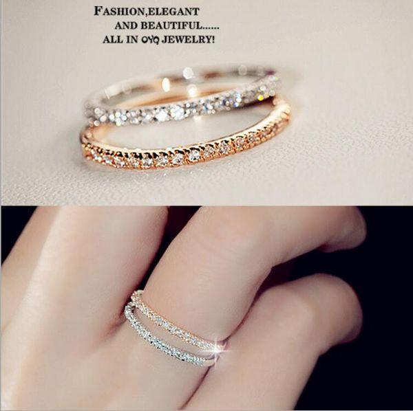 Bague de mariage simple en diamant plaqué or avec cristaux minces pour femmes minuscules Bague en zircone