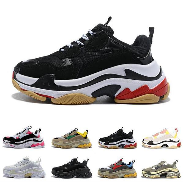 2019 Tamaño 36-45 Moda hombreParis 1Paris Triple S Zapatos casuales Papá zapatos para hombres mujeres Beige Negro Deportes tenis zapato 36-45