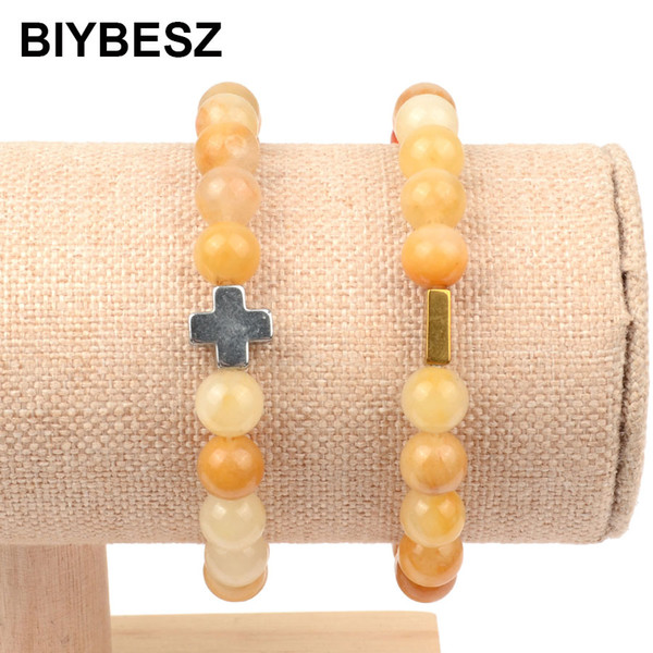 2019 neue Ankunft Kreuz Hämatit Silber Gold Armbänder 8mm Gelb Naturstein Armband Frauen Männer Freundschaft Schmuck Großhandel