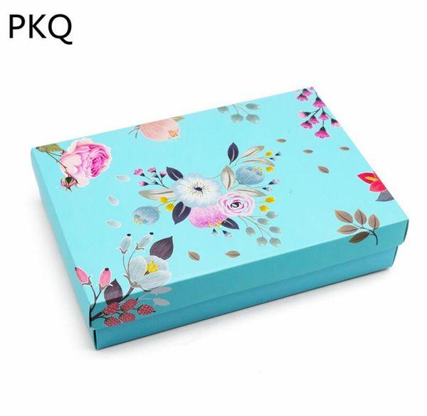 21 * 14 * 4.8 cm 20 unids Azul Chocolates caja de papel caja de papel cajón de regalo de dulces / caja de boda con ventana de pvc transparente para fiesta