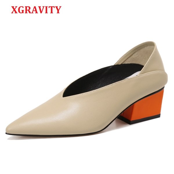 wholesale Vintage Genuine Leather Chunky Mix Color Mid-Heeled Hot Women Shoes Pointed Toe Dress Sexy V Design Retro Female
