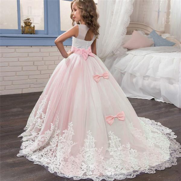Boda formal del vestido de las niñas largo elegante vestidos de baile niños partido de la princesa de las muchachas por las damas de honor del vestido formal para las niñas adolescentes J190612