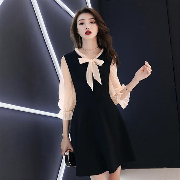 Кружевной лентой женский китайский платье вечернее платье элегантный тонкий узкий лоскутное Vestidos De Festa Qipao черный короткий Cheongsam