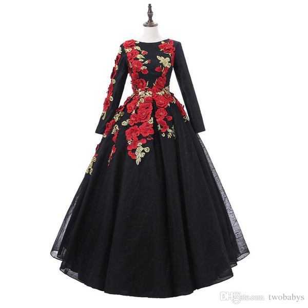 Vintage Black Lace Long Sleeve Ball Gown Prom Dresses 2019 Applique Flowers Beading Scoop Neckline Custom Made Evening Dress