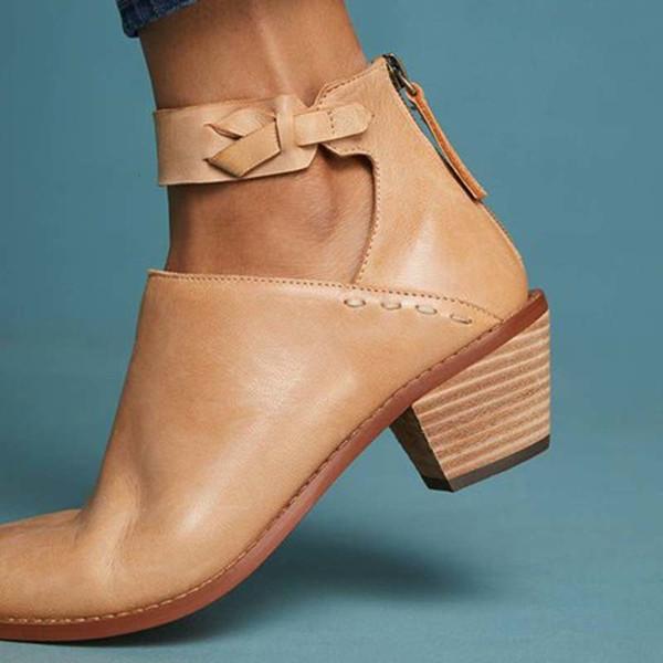 Adisputent Faux женщины замша сапоги Daily Коренастой пяток Zip обувь дышащего Женский Комфорт Обувь ретро Весна Pu Leather Dropship