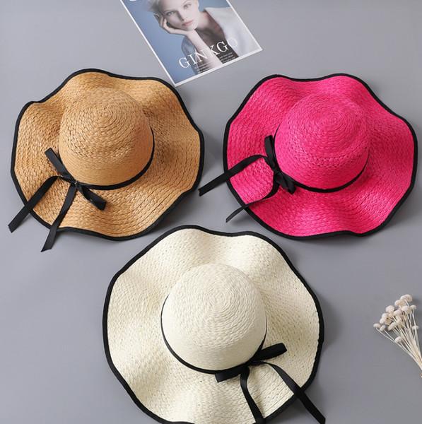 Parent Criança Palha Chapéus de Sol Verão Mulheres Aba Larga Chapéus de Praia Bowknot Disquete Dobrável Tampas de Férias de Férias Casuais Cápsula De PalhaTTA874