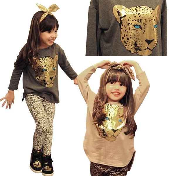 2018 Summer Toddler Girls Clothing Sets 2-8 Years Kid Tiger Tops+Leopard Legging 2pcs Girl Clothes Set Children Costume Suit