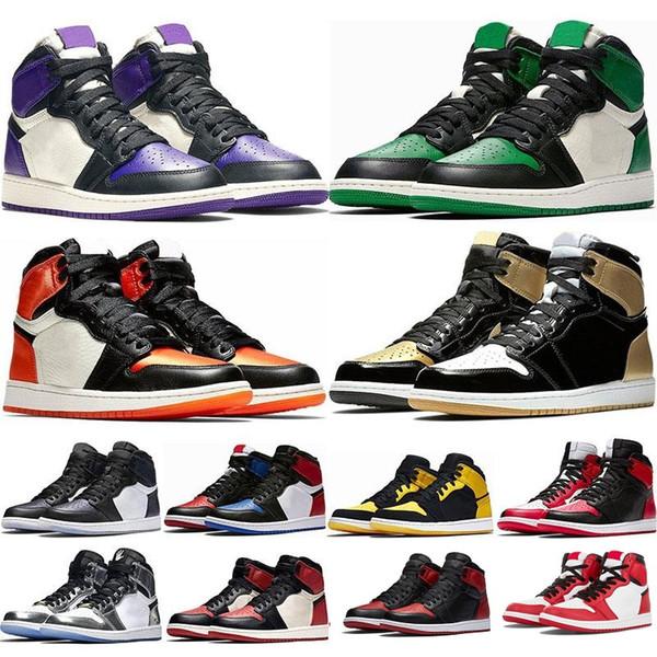 Новый 1 1S HIGH OG Расколотый щит Черный оранжевый Желтый белый Игра королевское золото top3 unc new love мужская баскетбольная обувь женские кроссовки