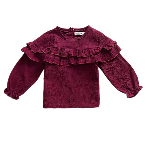 Cute Baby Girls T Shirts Spring Autumn Baby Girls Tops Solid Long Sleeve Ruffled Tees Cotton Children Kids Clothes T-Shirts