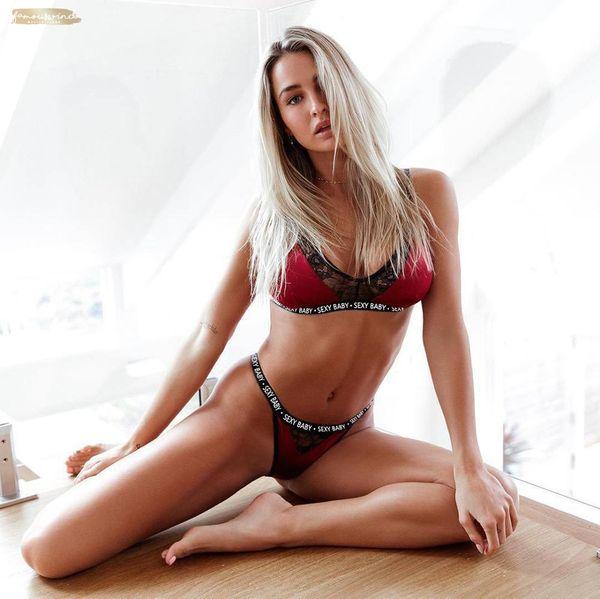 Sexy Bra Set Women Alphabet Mesh Transparent Push Up Lingerie Bra Active Bralette Seamless Thong Panties Underwear