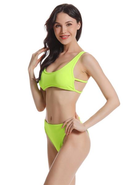 hxlvest Plavky 2019 Sexy Retro Yellow Polka Dot Bandeau Biquini Maillot de bain maillot de bain Femme Maillots Femmes Bikini Brésilien