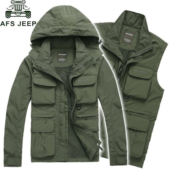 AFS JEEP Brand Sleeves Detachable Military Jacket Men Winter Windproof Waterproof Jackets Camouflage Tactical Coat Plus Size 4XLMX191011